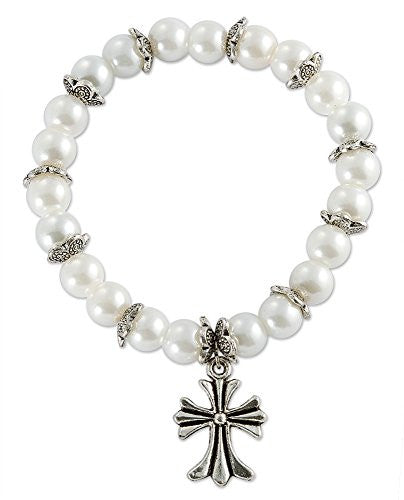 Pewter Cross Charm Stretchable Bracelet with Glass Simulated Pearl Beads - 2.5 Inch