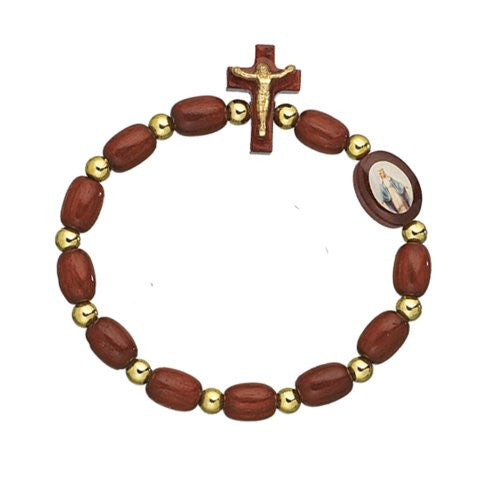 Wooden Beads Our Lady of Grace Rosary Decade Bracelet with Cross. Pack of 6 units