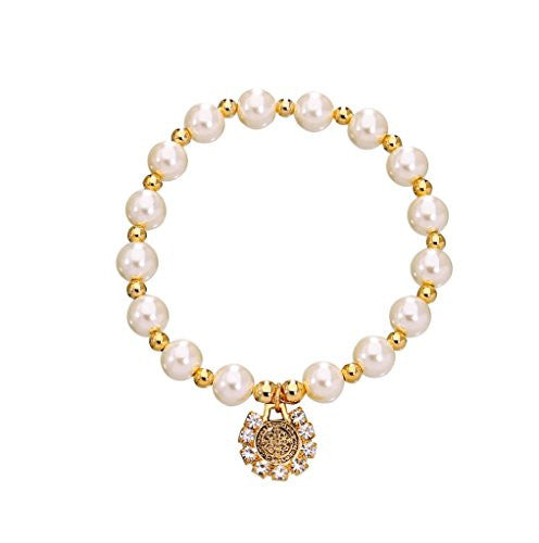 Saint St Benedict Medal Bracelet with White Glass Simulated Pearl and Gold Plated Spacer - 2.5 Inch
