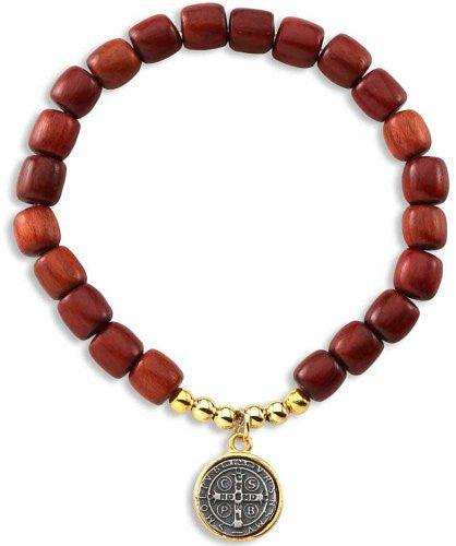 Cherry Wood Bead and Two Tone Saint St Benedict Medal Rosary Bracelet
