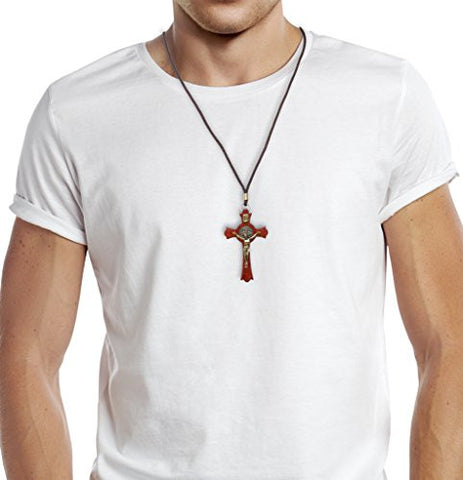 "Saint Benedict Wooden Gold Tone Cross Crucifix Pendant Necklace 3.54"" Cross X-Large. Pack of 6 units"