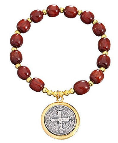 Wooden Beads Saint Benedict Bracelet with Two Tones Color Medal