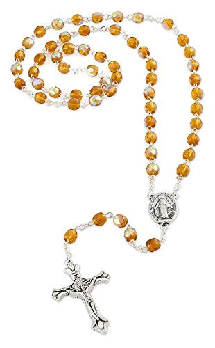 Our Lady of Grace Rosary with 6mm Amber Glass Crystal Beads, November Birthstone, 17 Inch