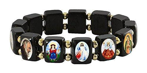 Elasticated Black Wood Small Square Assorted Catholic Saints Bracelet with Gold Color Beads