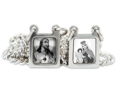 Stainless Steel Mini Squared Scapular Necklace with Black & White Catholic Icons, Made in Brazil