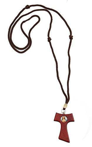 Tau Cherry Wood Jesus Cross Pendant Necklace on Cord with 3 Saint Francis Knots, 1.5 Inch