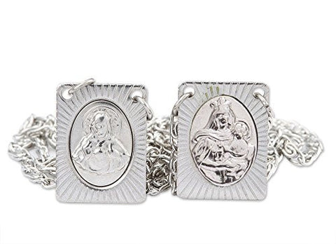 Men's Stainless Steel Catholic Scapular, Stamped Icons of Sacred Heart of Jesus and Our Lady of Mt. Carmel - 14 Inch. Pack of 6 Units