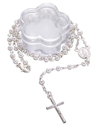 Lot of 6 pcs - Mini White Simulated Pearl Beaded Rosary Favors with Acrylic Flower Shape Box