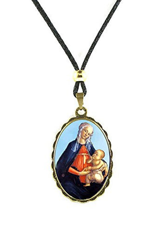 Madona and Child Baby Jesus Gold Tone Medal Pendant Cord Necklace - 12 Inch