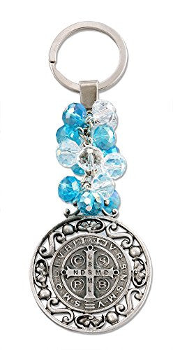 St Benedict Antique Silver Key Chain with Acrylic Beads - 4.72 Inch