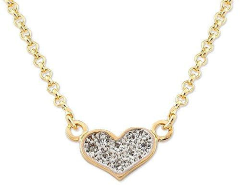 Heart Shape Pendant Gold Plated Necklace, Made in Brazil - 9.5 Inch