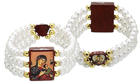Our Lady of Perpetual Help Medal Bracelet, Glass Simulated Pearls Beads - 2 Inch