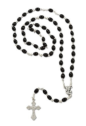 Virgin Mary Infant Baby Jesus Medal Rosary Black Glass Beads with Cross Crucifix - 20 Inch - Pack of 6 units