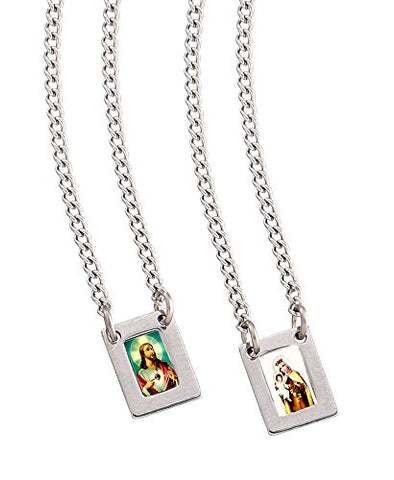 Stainless Steel Mini Rectangular Scapular with Color Images of Our Lady of Mount Carmel and Jesus