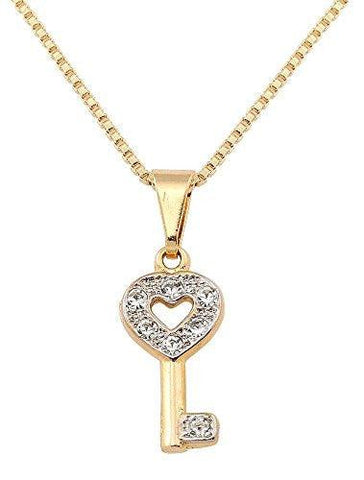 Heart Shape Key Gold Plated Pendant Necklace, Made in Brazil - 9.5""