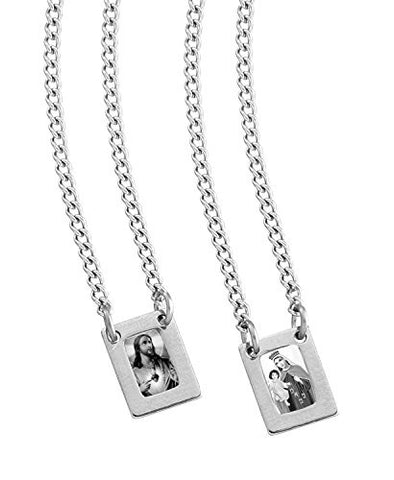 Stainless Steel Mini Rectangular Scapular with Black & White Images of Our Lady of Mount Carmel and Jesus