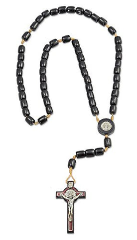 "Saint Benedict Black Wood Rosary Necklace with 2.5"" Cross, Made in Brazil, 19 Inch"