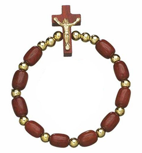 Rosary Wooden Beads Decade Stretch Bracelet with Cross Crucifix - Made in Brazil