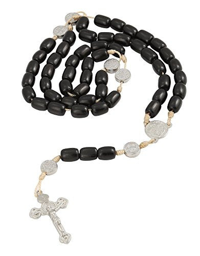 San Benito St Benedict Black Wood Beads Rosary Necklace with Cross/Crucifix, 20 Inch