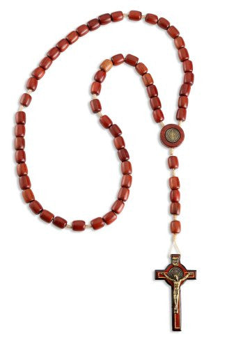 "Mens Saint St Benedict Wooden Rosary Beads with 2.5"" Cross Crucifix 19 Inch"