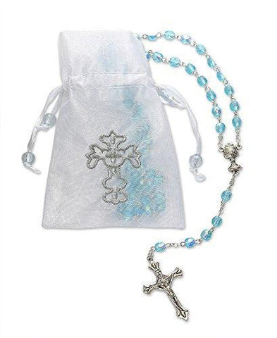 Boys First Holy Communion Blue Glass Crystal Rosary Beads with Metal Crucifix - 17 Inch