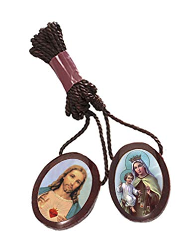 Pack of 6 pcs - Catholic Wear Wooden Brown Large Oval Shape Scapular Necklace