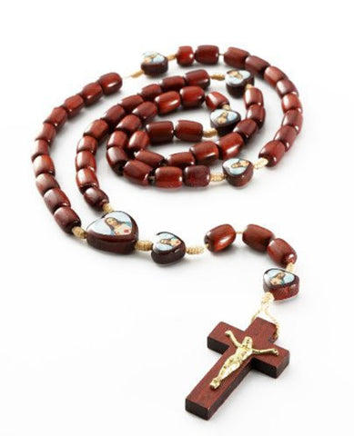 Pack of 3 pcs. Men's Cherry Wood Catholic Rosary Beads with Cross and 7 Images of Jesus
