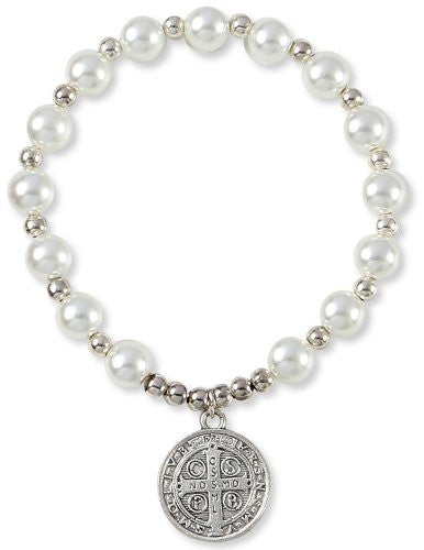 Silver Tone Saint Benedict Medal Glass Simulated Pearl Beads Bracelet, Made in Italy