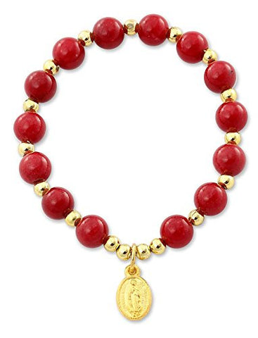 Our Lady of Guadalupe Medal Catholic Stretch Bracelet with Quartzite Dyed Red Beads - 2 Inch