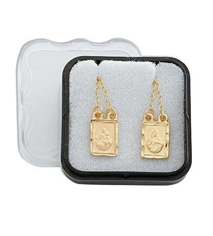 Gold Plated Squared Scapular with Engraved Images of Mount Carmel and Jesus