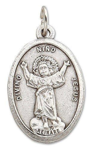 Lot of 12 - Oxidized Silver Tone Divine Child Divino Niño Medal Pendant - 1 Inch