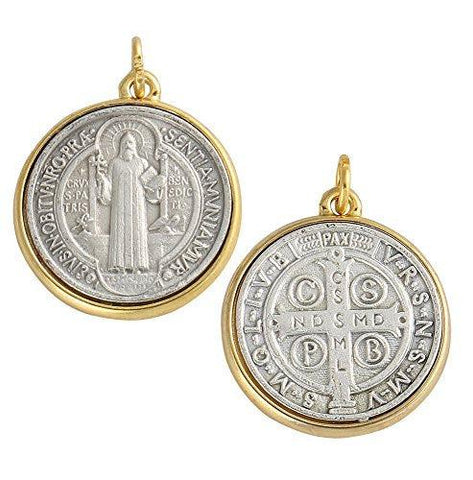 Gold and Silver Tone Saint St Benedict Large Religious Medals, 1.26 Inch - Lot of 2