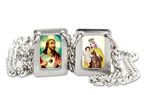 Sacred Heart of Jesus and Our Lady of Mount Carmel Stainless Steel Mini Rectangular Scapular - 13.5 Inch. Pack of 3 units