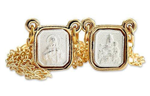 Gold and Silver Plated Mini Squared Scapular with Engraved Images of Mount Carmel and Jesus