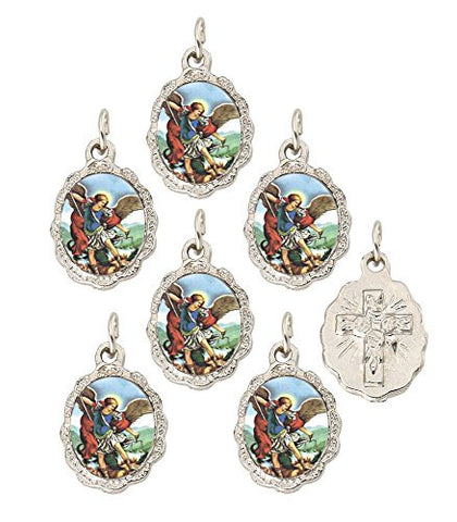"Lot of 12 - Silver Tone Saint Michael Small Medal Pendant - 0.50"" W x 0.75"" L"