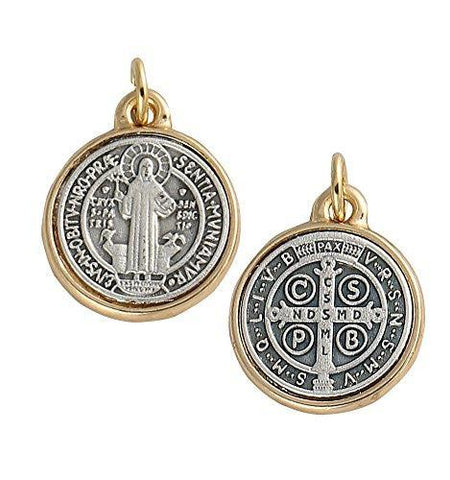 Lot of 2 pcs. Saint Benedict Two Tone Medallion Antiqued Silver & Gold Finish, Medium, 0.88 Inch