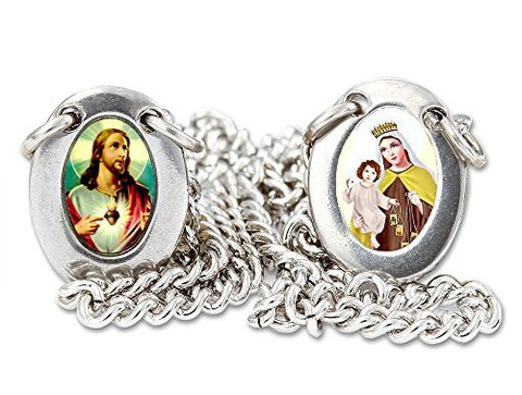 Stainless Steel Mini Oval Scapular with Color Images of Our Lady of Mount Carmel and Jesus - 13.5 Inches