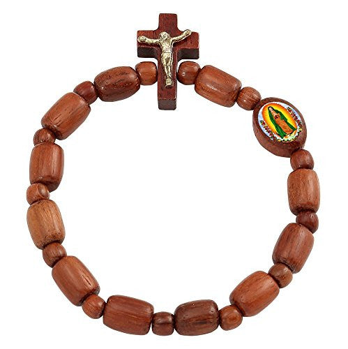 Our Lady of Guadalupe Wood Decade Rosary Beads Bracelet with Cross. Pack of 6 units