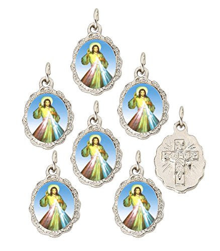 "Lot of 6 - Divine Mercy Silver Tone Small Medal Pendant - 0.50"" W x 0.75"" L"