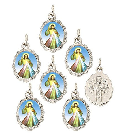 Set of 6 pcs. Divine Mercy Silver Tone Small Medal Pendant