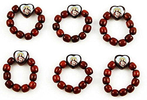 Pack of 6. Cherry Wood Prayer Bead Decade Finger Rosary Ring Catholic with Jesus Image