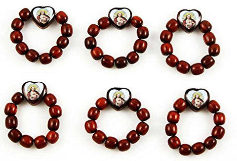 Cherry Wood Prayer Bead Decade Finger Rosary Ring Catholic with Jesus Image, Lot of 12