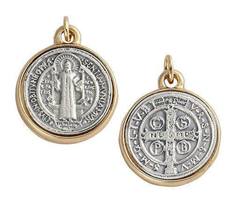 Lot of 2pcs. Saint Benedict Two Tone Medallion Antiqued Silver & Gold Finish, Small, 0.75 Inch