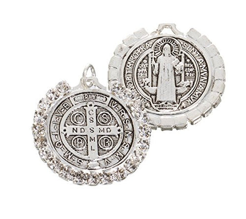 St Benedict Antique silver Medal with Rhinestones - Medium - 6 Pieces