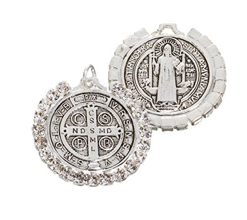 St Benedict Antique silver Medal with Rhinestones - Small Size - Pack of 6 units