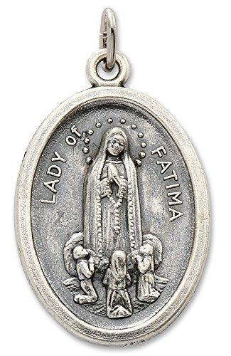 Lot of 6 pcs - Silver Tone Our Lady of Fatima/Pray for Us Medal Pendant