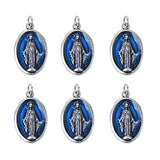 "Lot of 6pcs. Our Lady of Grace Mini Oxidized Silver Medal with Blue Enamel - .59"" W x 1"" L."