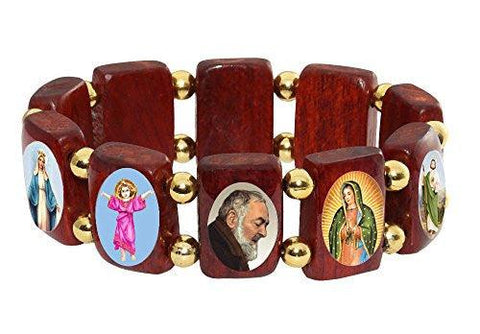 Elasticated Cherry Wood Large Square Catholic Saints Bracelet, Assorted Catholic Images with Gold Color Beads