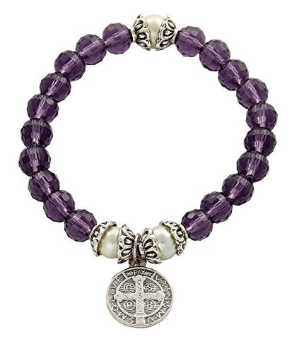Saint Benedict Silver Tone Medal Amethyst Color Crystal Beads Religious Bracelet