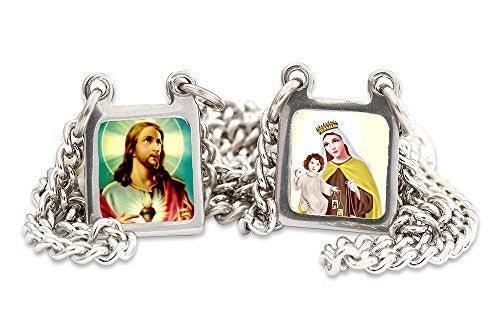"Lady of Mount Carmel & Sacred Heart of Jesus Color Images Stainless Steel Scapular Necklace - 13.5""."